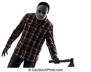 Hombre asesino en serie con un retrato de hacha silueta