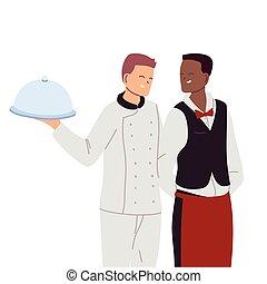 hombre, bandeja, camarero, sonriente, chef
