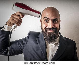 Hombre barbudo y chaqueta con expresiones más raras y divertidas