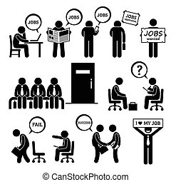 Hombre buscando entrevista de trabajo
