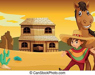 Hombre, caballo y casa