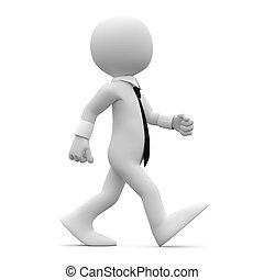 Hombre caminando con traje y corbata