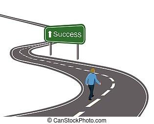 Hombre caminando por la curva carretera asfalto hasta el éxito de la señal verde con el concepto de la flecha blanca de la manera de alcanzar el éxito el viaje de la victoria