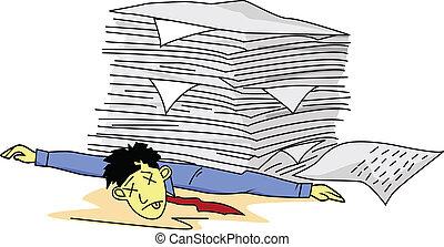 Hombre cansado bajo papeleo