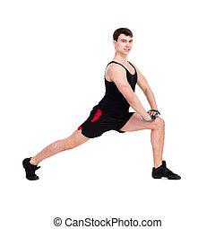 Hombre caucásico haciendo ejercicio