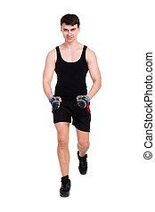Hombre caucásico haciendo ejercicio de aptitud