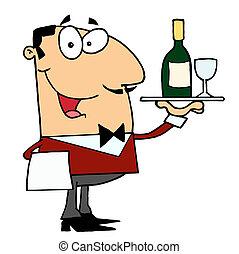 Hombre caucásico mayordomo sirviendo vino