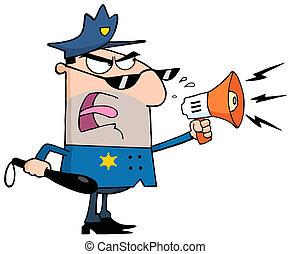 Hombre caucásico oficial de policía