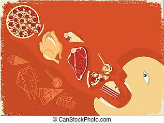 hombre, comida, vector, comida., cartel, hambriento, terreno