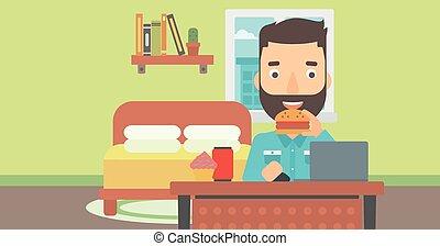 Hombre comiendo hamburguesa.