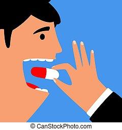 Hombre comiendo píldoras para la salud. Tratamiento de enfermedades