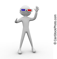 Hombre con 3d Glasses