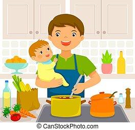 Hombre con bebé en la cocina