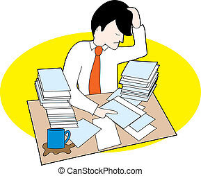 Hombre con escritorio sucio