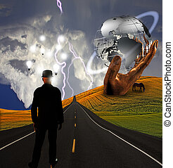 Hombre con ideas en paisaje con escultura