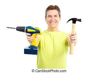 Hombre con martillo y taladro