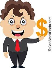 Hombre con signo de dólar, ilustración, vector de fondo blanco.