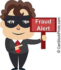 Hombre con signo de fraude, ilustración, vector de fondo blanco.
