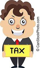 Hombre con signo de impuestos, ilustración, vector de fondo blanco.