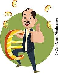 Hombre con signo euro, ilustración, vector de fondo blanco.