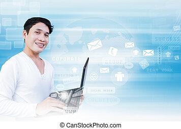 Hombre con tecnología portátil