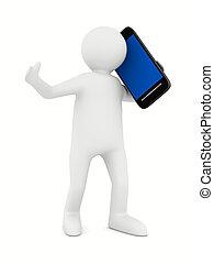 Hombre con teléfono blanco. Imagen 3D aislada