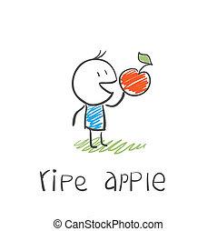 Hombre con una manzana madura