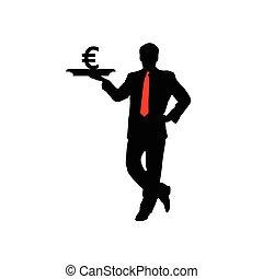 Hombre con vector de icono euro