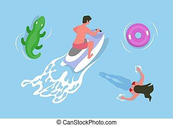 Hombre conduciendo moto acuática, chica nadando en vector de agua