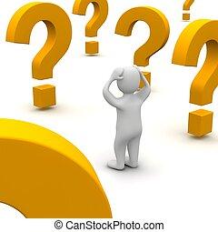 Hombre confundido y marcas de preguntas. 3d ilustrado.