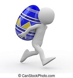 Hombre corriendo con un enorme huevo de Pascua