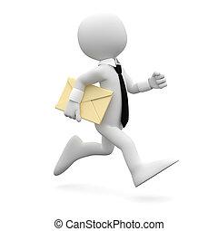 Hombre corriendo con una carta