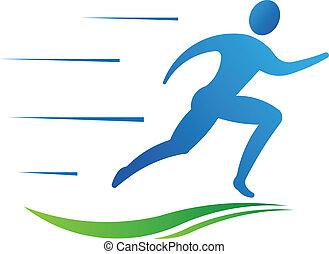 Hombre corriendo rápido. Figura deportiva