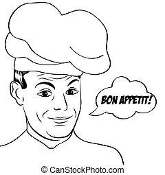 Hombre de arte pop en uniforme de cocina