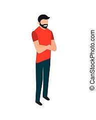 Hombre de barba con los brazos cruzados