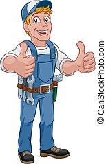 Hombre de construcción de caricatura Handyman