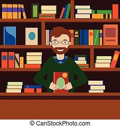 Hombre de fondo con estantería. Bibliotecario o vendedor de librerías