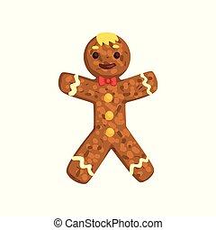 Hombre de jengibre, personaje de Navidad con vector de imagen divertido en un fondo blanco