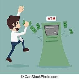 hombre de negocios, atm, retirar dinero