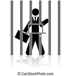 hombre de negocios, cárcel