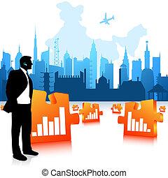 Hombre de negocios comunicándose, antecedentes de la ciudad, barras de gráficos