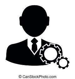 Hombre de negocios con ícono de engranaje