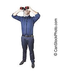 Hombre de negocios con binoculares