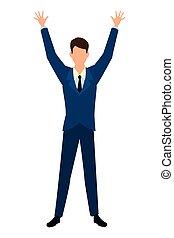 Hombre de negocios con brazos en caricatura