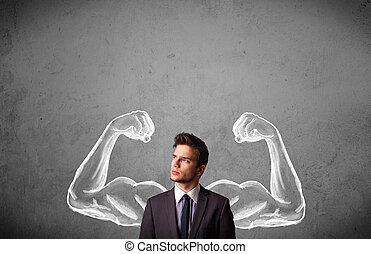 Hombre de negocios con brazos fuertes