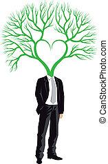 Hombre de negocios con cabeza de árbol, vector