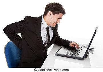 Hombre de negocios con dolor de espalda