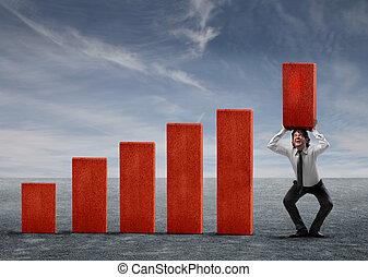 Hombre de negocios con estadísticas