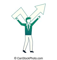 Hombre de negocios con Flecha hasta personaje avatar