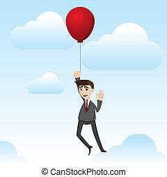 Hombre de negocios con globo flotante